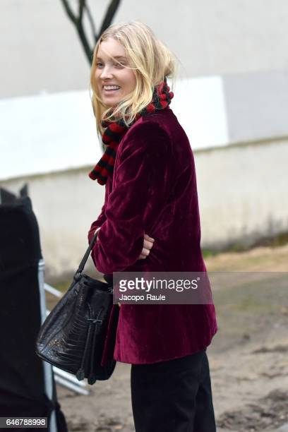 Elsa Hosk is seen arriving at HM fashion show during the Paris Fashion Week Womenswear Fall/Winter 2017/2018 on March 1 2017 in Paris France