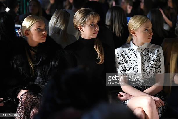 Elsa Hosk Jazmin Grimaldi and Portia Doubleday attend the J Mendel fashion show during Fall 2016 New York Fashion Week at Cedar Lake on February 18...