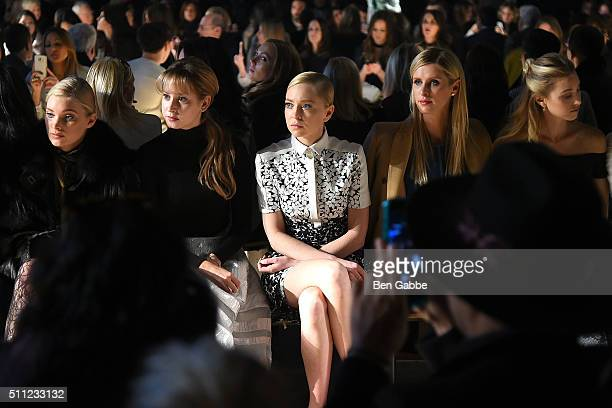 Elsa Hosk Jazmin Grimaldi Portia Doubleday Nicky Hilton and Whitney Port attend the J Mendel fashion show during Fall 2016 New York Fashion Week at...
