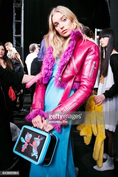 Elsa Hosk poses backstage at Jeremy Scott Fall/Winter 2017 Show during New York Fashion Week at Gallery 1 Skylight Clarkson Sq on February 10 2017 in...
