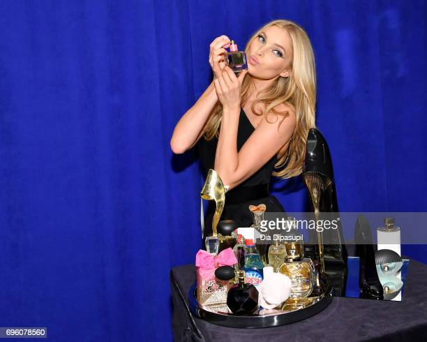 Elsa Hosk poses backstage at the 2017 Fragrance Foundation Awards Presented By Hearst Magazines at Alice Tully Hall on June 14 2017 in New York City