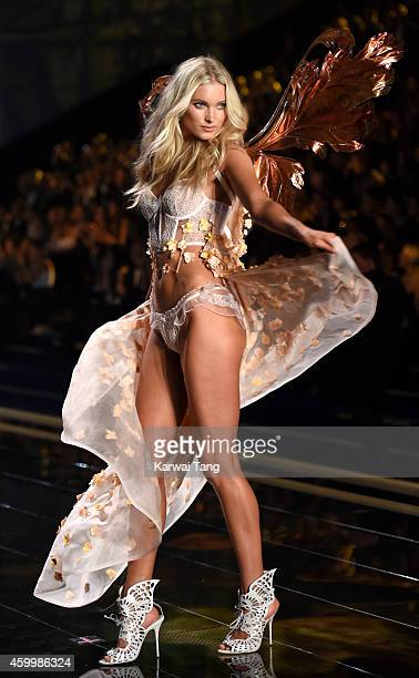 Elsa Hosk walks the runway at the annual Victoria's Secret fashion show at Earls Court on December 2 2014 in London England