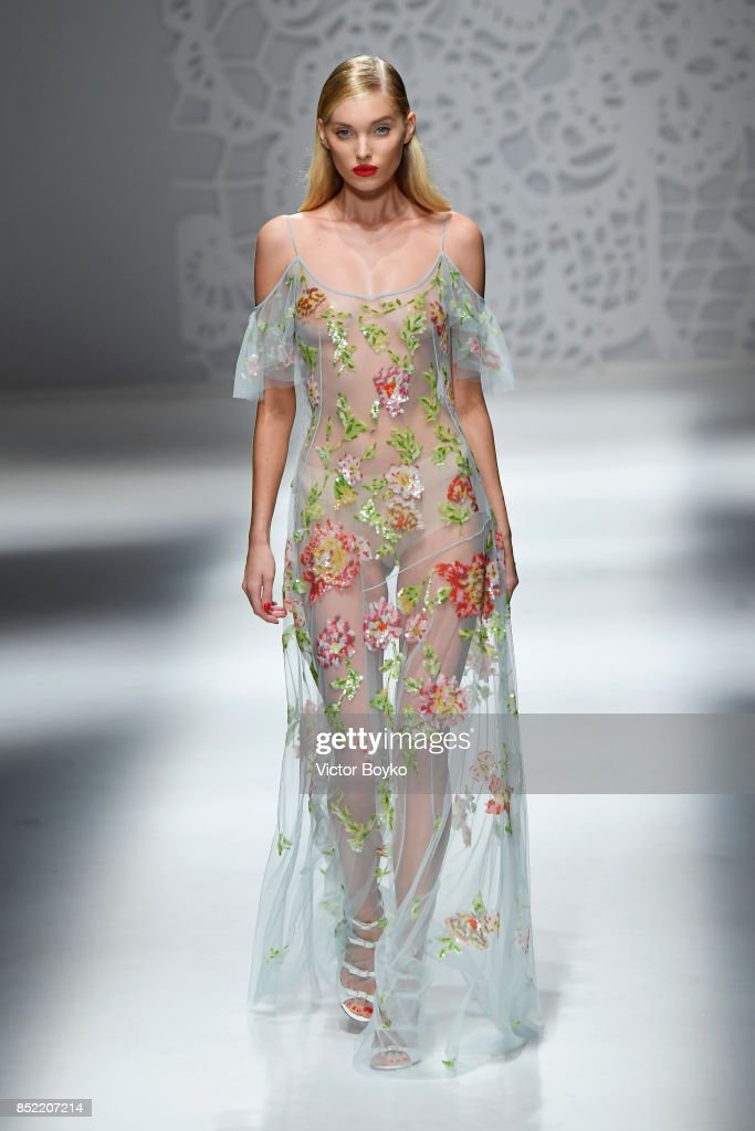Elsa Hosk walks the runway at the Blumarine show during Milan Fashion Week Spring/Summer 2018 on September 23, 2017 in Milan, Italy.