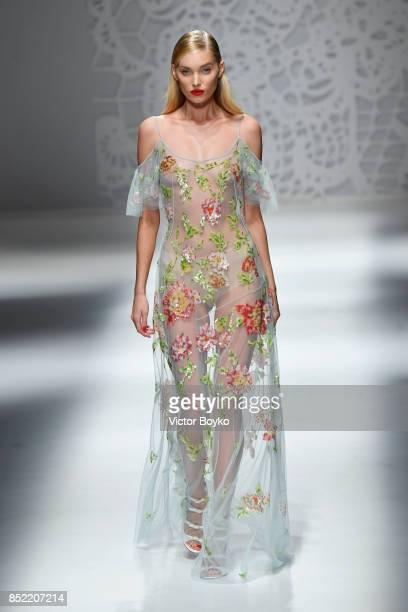 Elsa Hosk walks the runway at the Blumarine show during Milan Fashion Week Spring/Summer 2018 on September 23 2017 in Milan Italy
