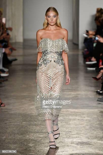 Elsa Hosk walks the runway at the Francesco Scognamiglio show during Milan Fashion Week Spring/Summer 2018 on September 20 2017 in Milan Italy