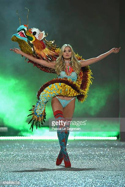 Elsa Hosk walks the runway at the Victoria's Secret Fashion Show on November 30 2016 in Paris France