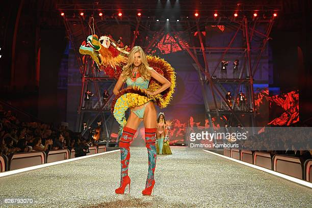 Elsa Hosk walks the runway during the 2016 Victoria's Secret Fashion Show on November 30 2016 in Paris France