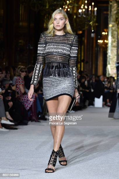 Elsa Hosk walks the runway during the Balmain show as part of the Paris Fashion Week Womenswear Spring/Summer 2018 on September 28 2017 in Paris...