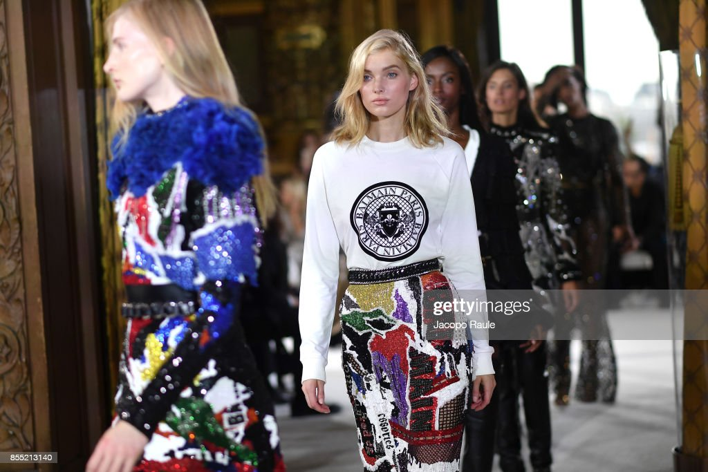 Elsa Hosk walks the runway during the Balmain show as part of the Paris Fashion Week Womenswear Spring/Summer 2018 on September 28, 2017 in Paris, France.