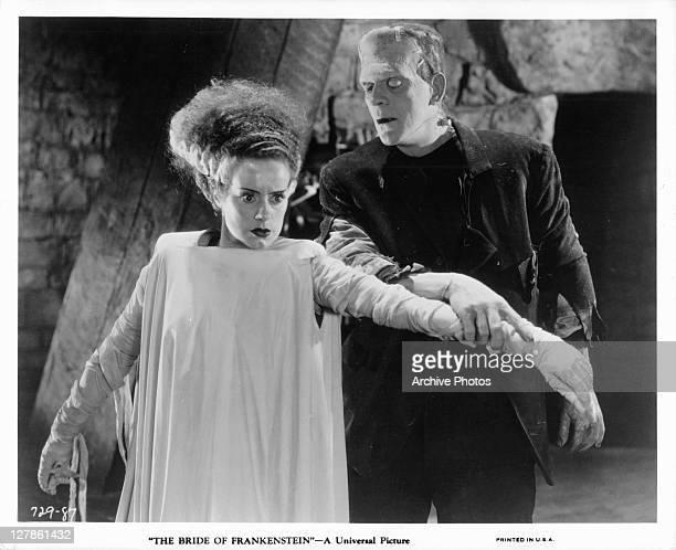 Elsa Lanchester being held by Boris Karloff in a scene from the film 'Bride Of Frankenstein' 1935