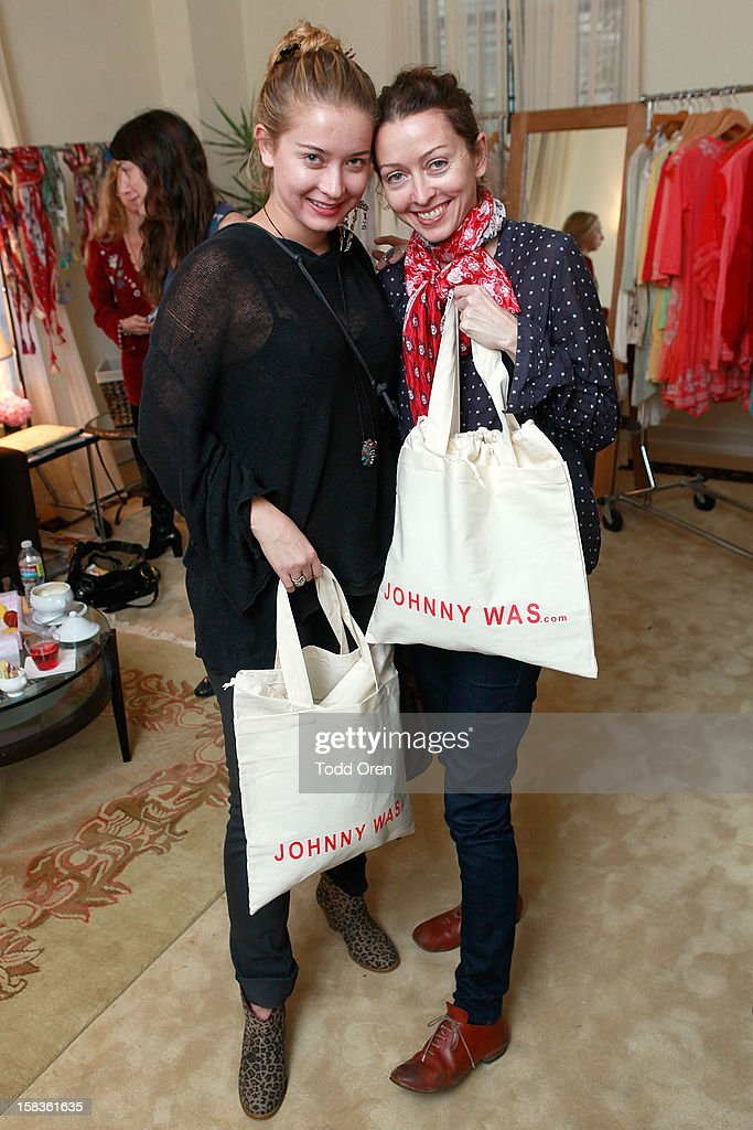Elsa Larson and Simone White shop at the Johnny Was Holiday Gifting Suite at Chateau Marmont on December 13, 2012 in Los Angeles, California.