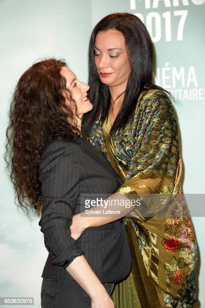 Elsa Lunghini and Loubna Abidar attends the 3rd day of Valenciennes Cinema Festival on March 15 2017 in Valenciennes France