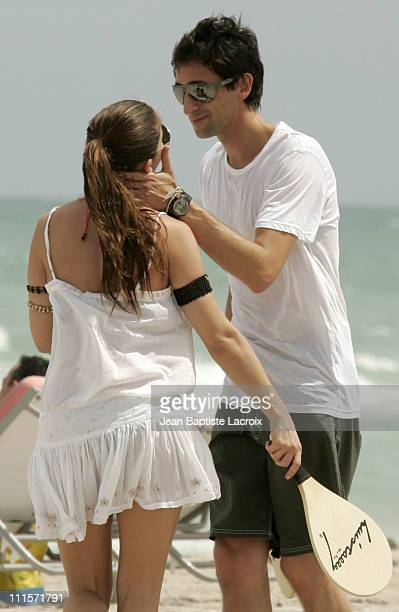 Elsa Pataky and Adrien Brody during Adrien Brody and Elsa Pataky Sighting in Miami Beach August 9 2006 at Miami Beach in Miami Beach Florida United...