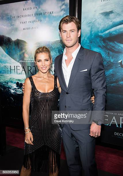 Elsa Pataky and Chris Hemsworth arrive at the 'In The Heart Of The Sea' New York Premiere at Frederick P Rose Hall Jazz at Lincoln Center on December...