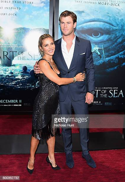 Elsa Pataky and Chris Hemsworth attend 'In The Heart Of The Sea' premiere at Frederick P Rose Hall Jazz at Lincoln Center on December 7 2015 in New...
