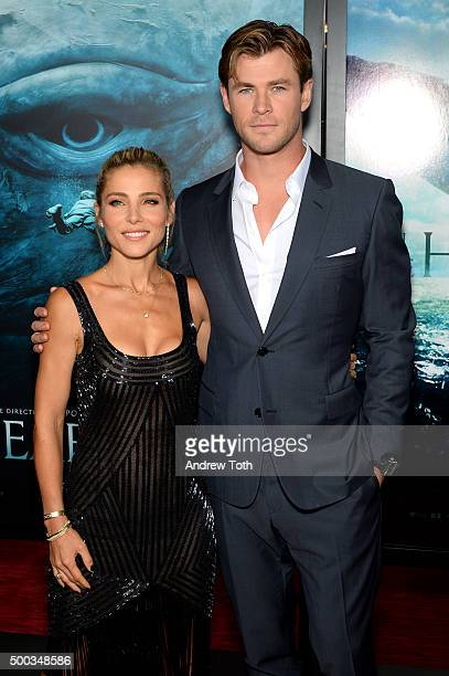 Elsa Pataky and Chris Hemsworth attend 'In The Heart Of The Sea' New York premiere at Frederick P Rose Hall Jazz at Lincoln Center on December 7 2015...