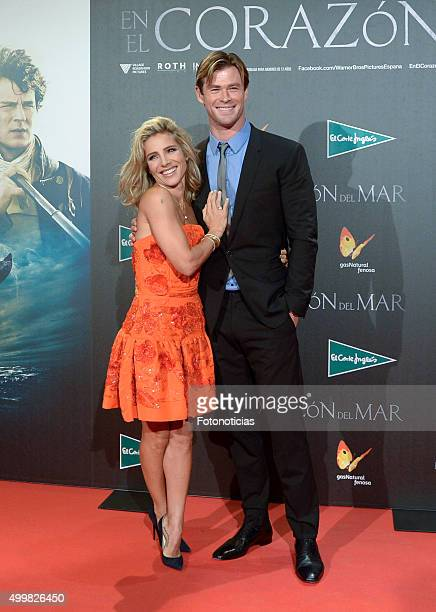 Elsa Pataky and Chris Hemsworth attend the 'In The Heart Of The Sea' Premiere at Callao Cinema on December 3 2015 in Madrid Spain