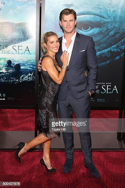 Elsa Pataky and Chris Hemsworth attend the 'In the Heart of the Sea' premiere at Frederick P Rose Hall Jazz at Lincoln Center on December 7 2015 in...