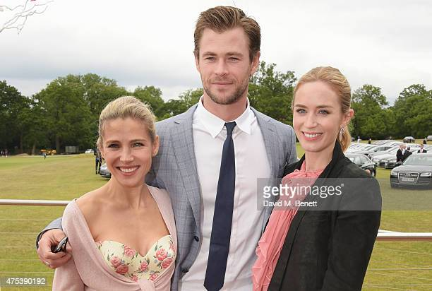 Elsa Pataky Chris Hemsworth and Emily Blunt attend day two of the Audi Polo Challenge at Coworth Park on May 31 2015 in London England
