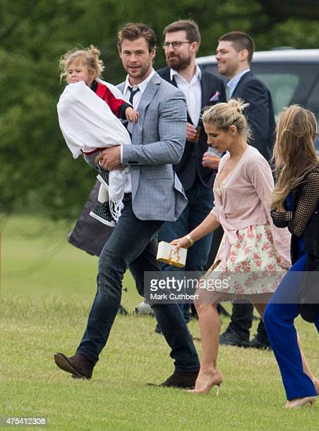 Elsa Pataky India Rose Hemsworth and Chris Hemsworth attend day two of the Audi Polo Challenge at Coworth Park on May 31 2015 in London England