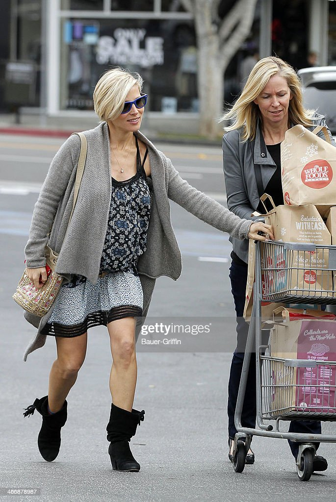 Elsa Pataky is seen at Whole Foods Market with her mother-in-law Leonie Hemsworth on February 04, 2014 in Los Angeles, California.