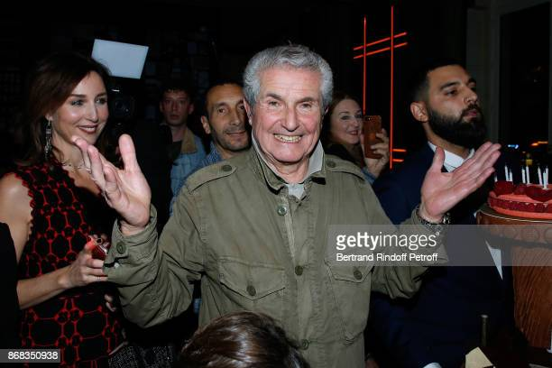 Elsa Zylberstein and Claude Lelouch attend Claude Lelouch celebrates his 80th Birthday at Restaurant Victoria on October 30 2017 in Paris France