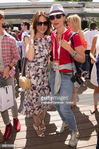 Elsa Zylberstein and Geraldine Maillet attend the Men's Singles Final of 2015 Roland Garros French Tennis Open Day Fithteen on June 7 2015 in Paris...