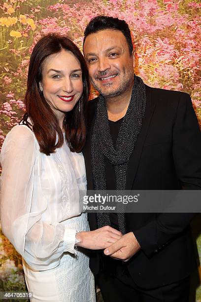 Elsa Zylberstein and Zuhair Murad attend the Zuhair Murad show as part of Paris Fashion Week Haute Couture Spring/Summer 2014 on January 23 2014 in...