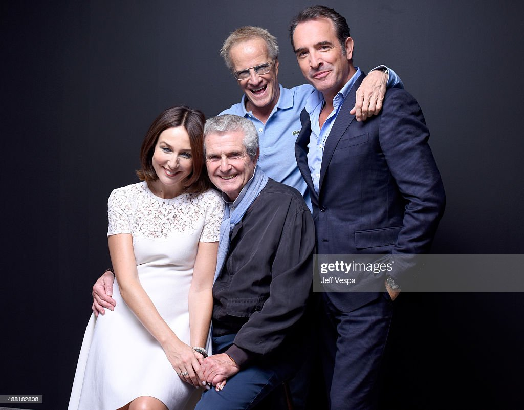 Elsa Zylberstein director Claude Lelouch actors Christopher Lambert and Jean Dujardin from 'Un plus une' pose for a portrait during the 2015 Toronto...