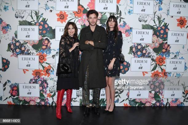Elsa Zylberstein Francisco Lachowski and Jessieann Lachowski attend ERDEM X HM Paris Collection Launch at Hotel du Duc on October 26 2017 in Paris...