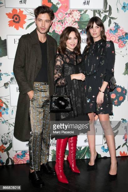 Elsa Zylberstein Francisco Lachowski and Jessieann Lachowski attend the 'ERDEM X HM' Paris Collection Launch at Hotel du Duc on October 26 2017 in...
