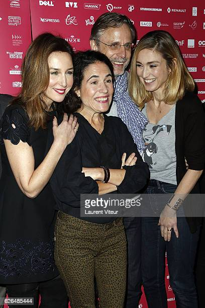Elsa Zylberstein Mazarine Pingeot and Julie Gayet attend 'Courts Devants' Paris Festival at Mk2 Bibliotheque on November 29 2016 in Paris France