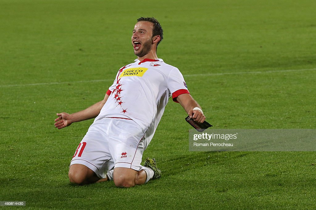 Elsad Zverotic for FC Sion celebrates the victory after the Europa League game between FC Girondins de Bordeaux and FC Sion at Matmut Atlantique Stadium on October 22, 2015 in Bordeaux, France.