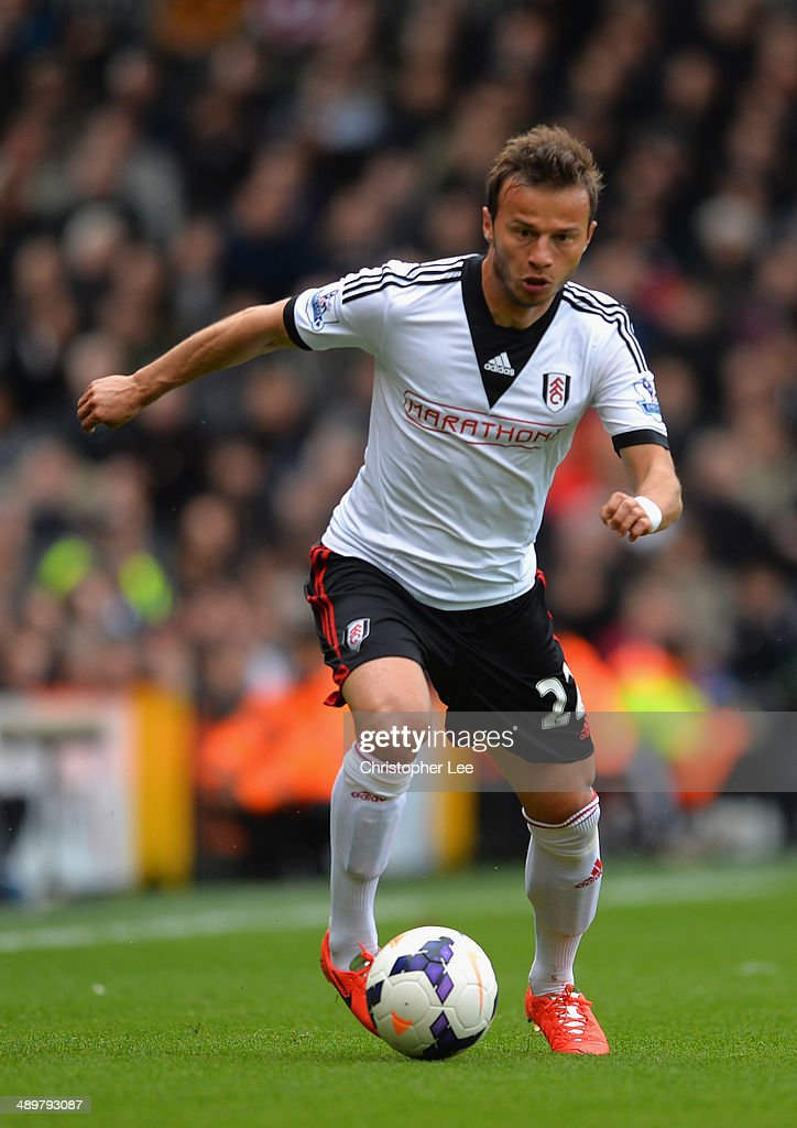 Elsad Zverotic of Fulham in action during the Barclays Premier League match between Fulham and Crystal Palace at Craven Cottage on May 11, 2014 in London, England.