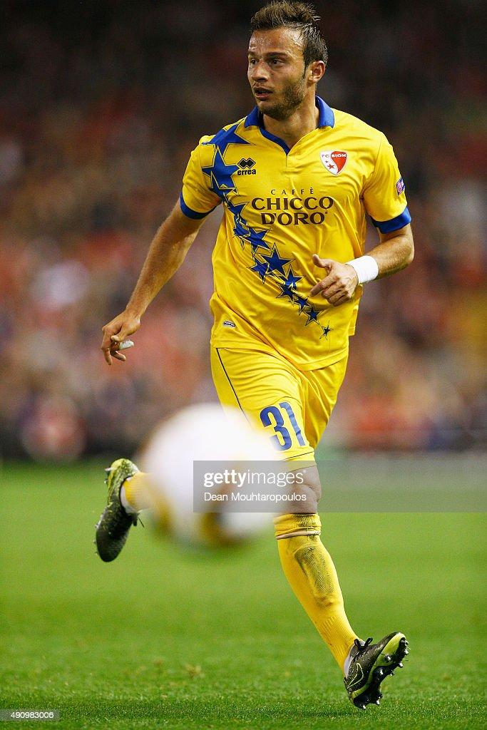 Elsad Zverotic of Sion in action during the UEFA Europa League group B match between Liverpool FC and FC Sion at Anfield on October 1, 2015 in Liverpool, United Kingdom.