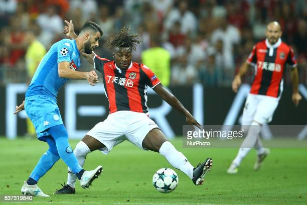 Else Hysaj of Napoli and Allan SaintMaximin of Nice during the UEFA Champions League Qualifying PlayOffs round second leg match between OGC Nice and...