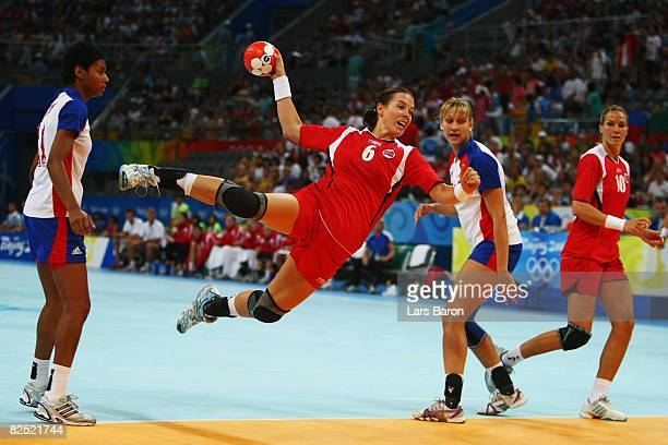 Else Marthe Soerlie Lybekk of Norway shoots at goal during the Women's Handball Gold Medal Match between Norway and Russia held at the National...