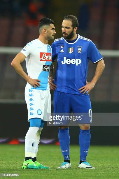 Elsed Hysaj of Napoli and Gonzalo Higuain of Juventus during the TIM Cup match between SSC Napoli and Juventus FC at Stadio San Paolo on April 5 2017...
