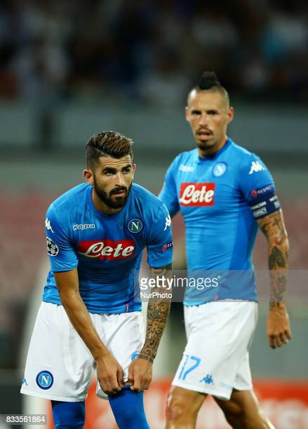 Elsed Hysaj of Napoli and Marek Hamsik of Napoli at San Paolo Stadium in Naples Italy on August 16 2017 during the UEFA Champions League Qualifying...
