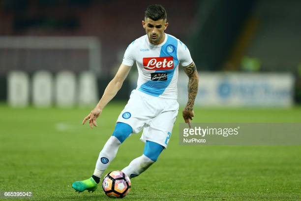 Elsed Hysaj of Napoli during the TIM Cup match between SSC Napoli and Juventus FC at Stadio San Paolo on April 5 2017 in Naples Italy