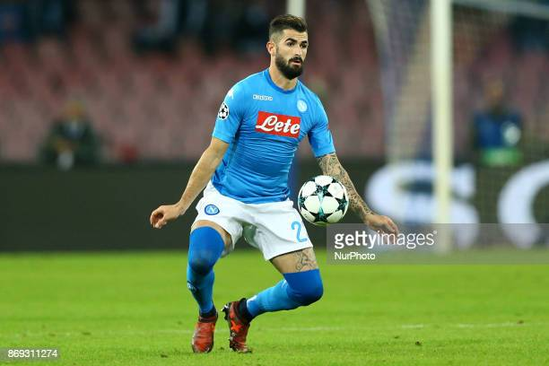Elsed Hysaj of Napoli during the UEFA Champions League football match Napoli vs Manchester City on November 1 2017 at the San Paolo stadium in Naples...