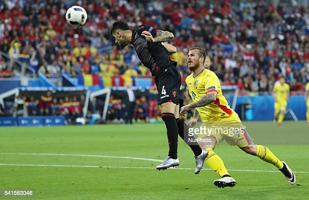 Elseid Hysaj Denis Alibec during the UEFA Euro 2016 Group A match between Romania and Albania at Stade de Lyon on June 19 in Lyon France
