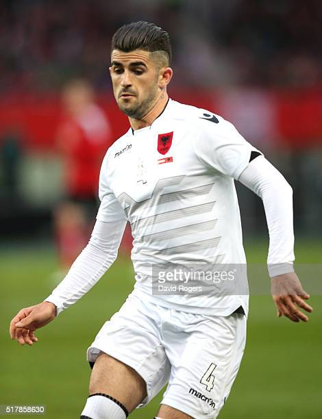 Elseid Hysaj of Albania looks on during the international friendly match between Austria and Albania at the Ernst Happel Stadium on March 26 2016 in...