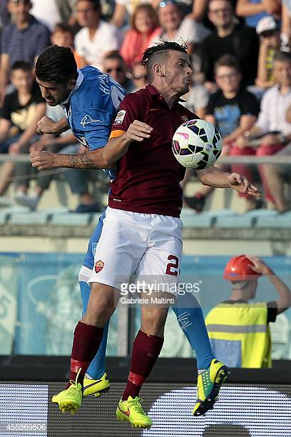 Elseid Hysaj of Empoli Fc battles for the ball with Alessandro Florenzi of AS Roma during the Serie A match between Empoli FC and AS Roma at Stadio...