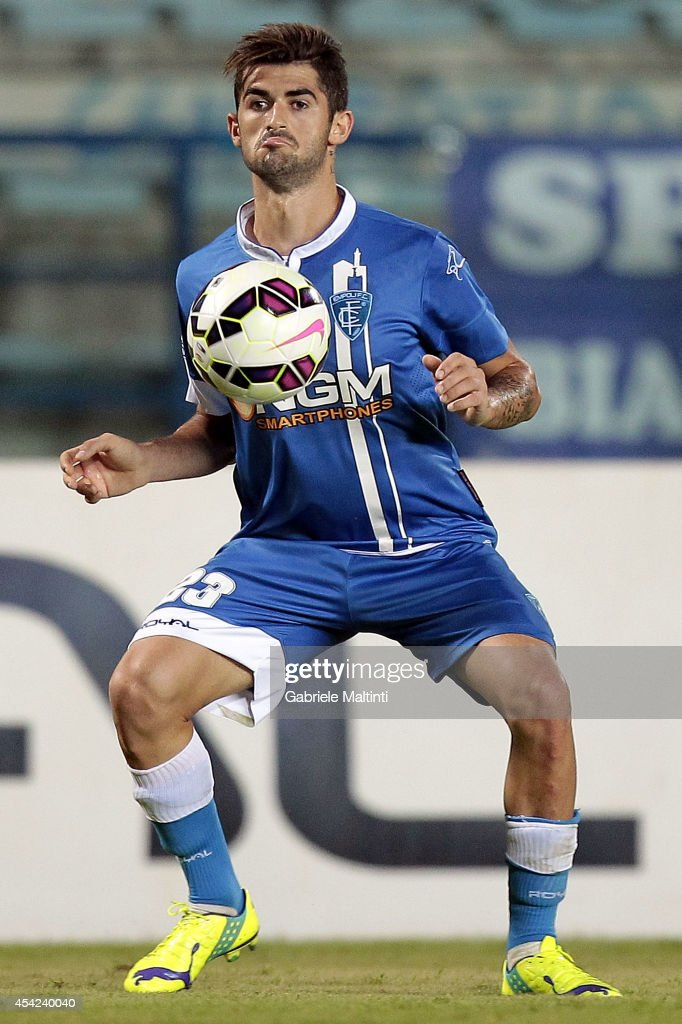 Elseid Hysaj of Empoli FC in action during the TIM Cup match between Empoli FC and L'Aquila Calcio at Stadio Carlo Castellani on August 24, 2014 in Empoli, Italy.