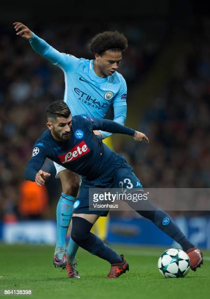 Elseid Hysaj of Napoli and Leroy Sane of Manchester City in action during the UEFA Champions League group F match between Manchester City and SSC...