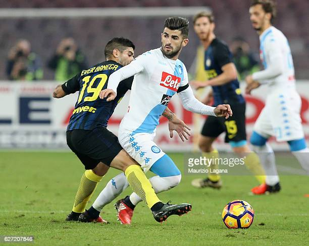 Elseid Hysaj of Napoli competes for the ball with Ever Banega of Inter during the Serie A match between SSC Napoli and FC Internazionale at Stadio...