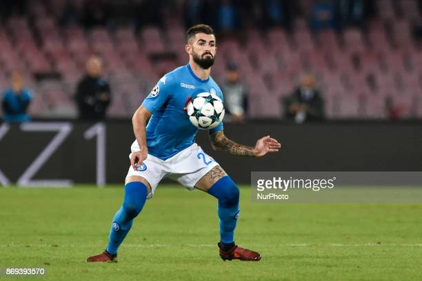 Elseid Hysaj of Napoli during the UEFA Champions League match between Napoli v Manchester City at San Paolo Stadium Naples Italy on 1 November 2017