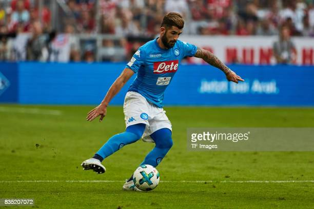 Elseid Hysaj of Napoli in action during the Audi Cup 2017 match between SSC Napoli and FC Bayern Muenchen at Allianz Arena on August 2 2017 in Munich...