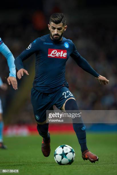 Elseid Hysaj of Napoli in action during the UEFA Champions League group F match between Manchester City and SSC Napoli at Etihad Stadium on October...